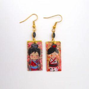 Boucles d'oreilles artisanales little geisha Japon