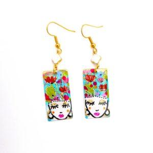 Boucles d'oreilles artisanales peintes en laiton