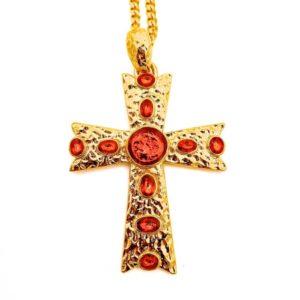 Pendentif croix dorée et rouge en émaux avec chaine en plaqué or