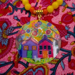 Sautoir pendentif multicolore artisanal en pierres naturelles