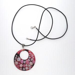 Collier pendentif en émail rond rose