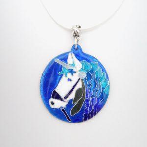 Collier pendentif en émail cloisonné rond licorne
